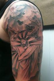 flying doves and jesus sleeve