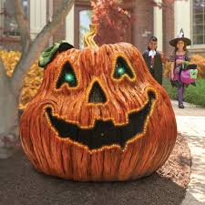 Fiber Optic Halloween Decorations by The Giant Haunted Jack O U0027 Lantern Hammacher Schlemmer