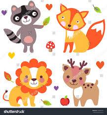 set cute animals raccoon fox lion stock vector 160845737