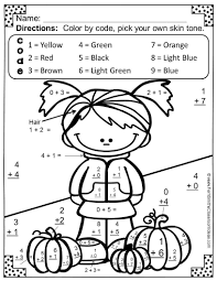 addition coloring page first grade math worksheets color by