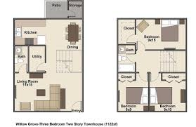 apartments three story townhouse floor plans story floor plans