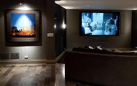 interior cute basement home theater decoration using dark grey