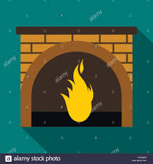 christmas fireplace icon flat style stock vector art