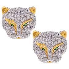 womens stud earrings diamond panther cat stud earrings 18k yellow gold 1 10 ct