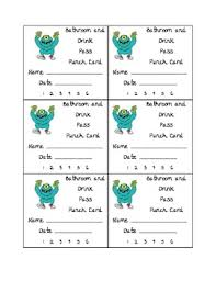 Bathroom Pass Template Bathroom And Drink Punch Card By Teaching 5th In Il Tpt