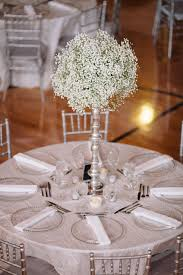 silver centerpieces all silver and white wedding with grand baby s breath as the