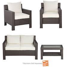 Hampton Bay Wicker Patio Set Hampton Bay Beverly 4 Piece Patio Deep Seating Set With Cushion