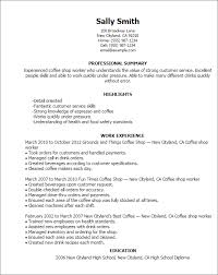 Professional Summary On Resume Examples by Professional Coffee Shop Worker Templates To Showcase Your Talent