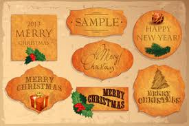 collection of christmas vector decorative elements tags labels