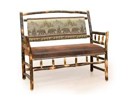 Upholstered Benches Rustic Hickory And Oak