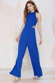 gal jumpsuit gal jeslina cutout jumpsuit blue rompers jumpsuits