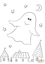 cute ghost flying rooftops coloring free printable