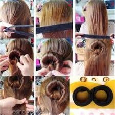 hair bun maker instructiins 4 adet saç aksesuarları diy sihirli sünger saç bandı elastik saç