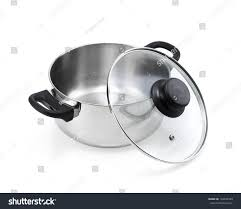 stainless steel cooking pot open glass stock photo 194045789