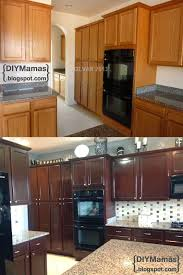 staining kitchen cabinets with gel stain kitchen makeover gel stain backsplash hardware apron