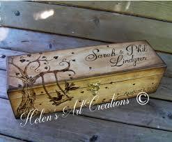 Engravable Keepsake Box Wedding Wine Box Engraved Birds And Trees Personalized Wine Box