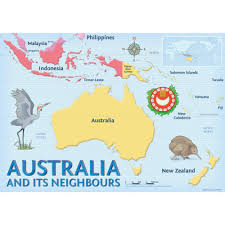 New Zealand And Australia Map Australia And Its Neighbours Map Chart Pack