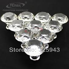 Glass Kitchen Cabinet Hardware 30mm Zinc Alloy Clear Crystal Sparkle Glass Kitchen Cabinet Knobs