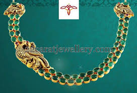 emerald stone necklace jewelry images Two layer emerald stone necklace jewellery designs jpg