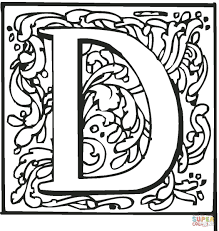letter d with ornament coloring page free printable coloring pages