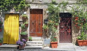 entrances to the house in pitigliano tuscany italy europe stock