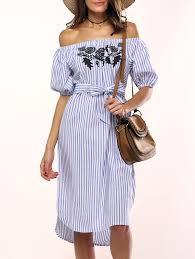 summer dresses light blue one size sweet off the shoulder floral