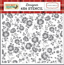 cowboy wrapping paper carta paper cowboy country prairie floral 6x6 stencil
