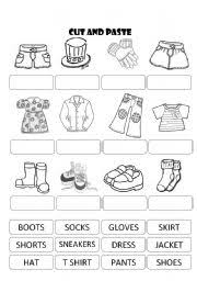 english worksheet clothes cut and paste dla dzieci pinterest