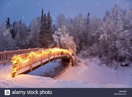 bridge decorated with christmas lights in a forest setting alaska