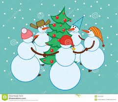 dance snowmen around the christmas tree stock photography image