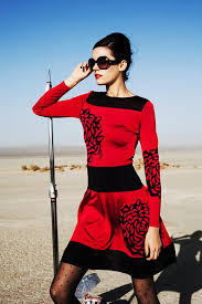 long sleeve red dress with black flower design u2013 paula hian designer