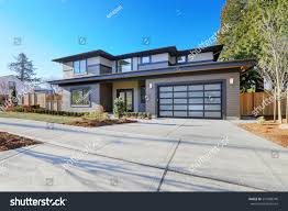 new construction home exterior contemporary house stock photo