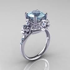 aquamarine wedding rings modern vintage 14k white gold 2 5 carat aquamarine wedding