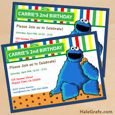 printable cookie monster birthday invitation
