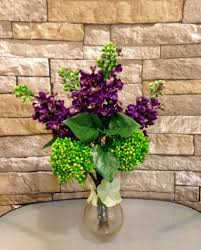 Home Plant Decor by Purple Lilac And Green Sedum Bouquet In Copper Glass Vase Office