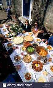 table full of food greece a table full of freshly prepared greek food stock photo