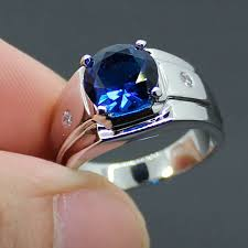 blue man rings images Mmdgem 3ct round 5a blue stone zircon silver ring engagement jpg