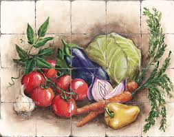 Kitchen Tile Murals Tile Art Backsplashes by Tuscany Vegetable Decor Tre Sorelle U0027s Art Licensing Program