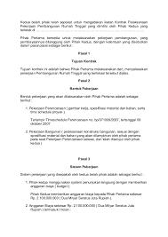 contoh kontrak kerja antara pemborong dengan