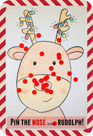 pin the nose on rudolph game gaming creative and preschool