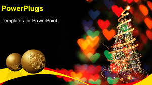 Colored Christmas Lights by Powerpoint Template Two Gold Colored Christmas Balls And A