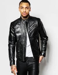 black leather biker jacket diesel leather biker jacket l oyton zip detail in black in black