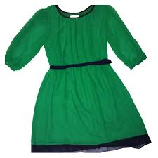 emerald green chiffon dress with navy detailing delicate emerald