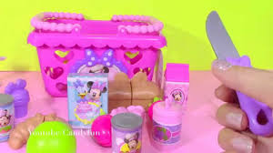 Minnie Mouse Toy Organizer Minnie Mouse Food Bowtastic Shopping Basket Food Cutting Toy Youtube