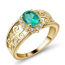 gold emerald engagement rings filigree 0 96 ct oval emerald engagement ring in 14k yellow gold