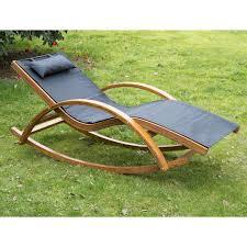 Cushions For Reclining Garden Chairs Outsunny Wooden Garden Recliner Rocker Lounger U2013 Ideal Home Show Shop