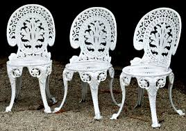 cast iron chairs outdoor top white metal outdoor furniture with