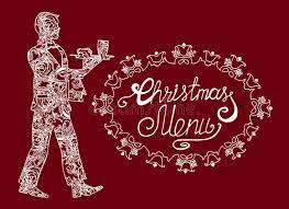holiday illustration christmas menu postcard with the waiter