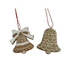 gisela graham pair of resin gingerbread bell decorations