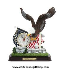 House Gift American Eagle Flag Clock With Washington D C Monuments From The